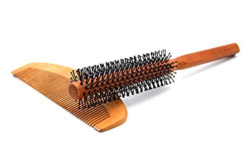 Bartbürste und Bartkamm Set für Herren   Haarbürste rund mit Griff zum Stylen und Fönen   für Bart und kurze Haare   Holz Kamm ideal für unterwegs