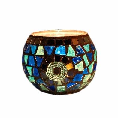 portacandelevetrodesignmetallo mosaico blu spirale