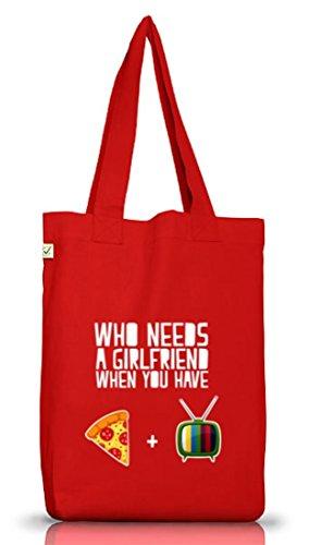 Valentinstag Jutebeutel Stoffbeutel Earth Positive mit Who Needs A Girlfriend Motiv von ShirtStreet Red