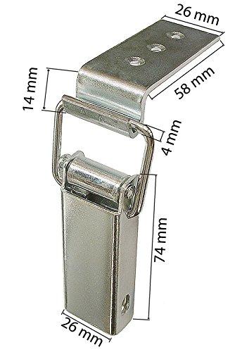 Spannverschluss Kistenverschluss 115 x 48 x 5 mit Gegenhaken Eckbefestigung