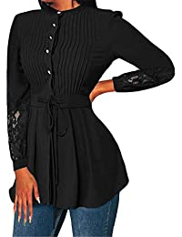 es Tops Camisetas Y 2xl Amazon Lazo Camisas Blusas Negro UwqHad6
