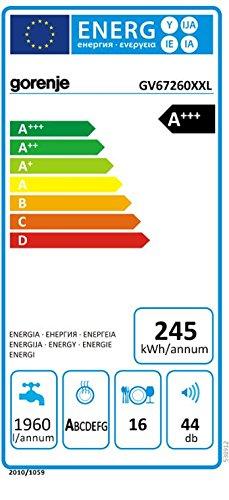 Gorenje GV 67260 XXL SmartFlex Superior/Vollintegrierbarer Geschirrspüler/A+++/16 Maßgedecke/245 kWh/Jahr/59,6 cm/44 dB (A)/Total AquaStop/schwarz