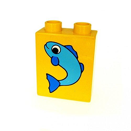 1 x Lego Duplo Motivstein gelb 1x2x2 bedruckt Fisch blau klein Bild Bau Stein 4066 pb054
