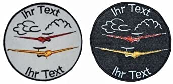 Vol à voile insigne à coudre avec texte personnel patch de club 8cm (410-1)