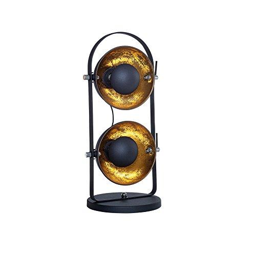 Design Tischlampe STUDIO 2 Lampenschirme schwarz gold Lampe mit Blattgold Optik -