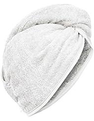 Carenesse Haarturban weiß, 100% saugstarke Baumwolle, Aufsetzen – Einwickeln - Festknöpfen - Stabiler Halt, Kopf Handtuch, Haar-Turban, Haar Turban, Kopfhandtuch, Haartrockentuch, Handtuch für Haare
