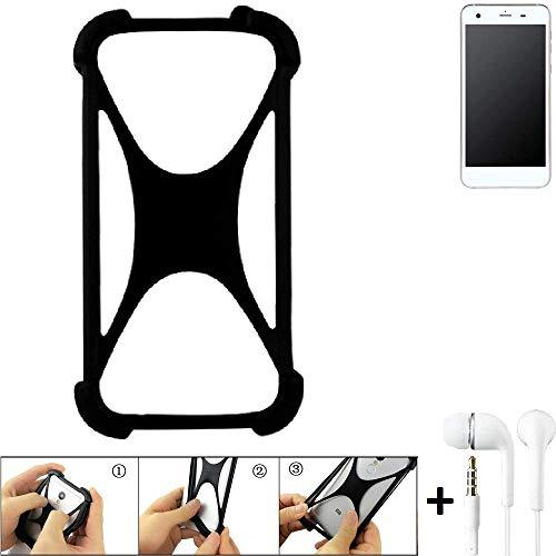 K-S-Trade Bumper Vestel V3 5570 Schutzhülle Handyhülle Silikon Schutz Hülle Cover Case Silikoncase Silikonbumper TPU Softcase Smartphone, schwarz (1x), Headphones