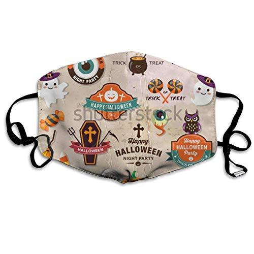 ske,Wiederverwendbar Anti Staub Schutzhülle,Happy Halloween Design Anti-Dust Cotton Mask,Unisex Face Mouth Mask for Kids Teens Men Women ()