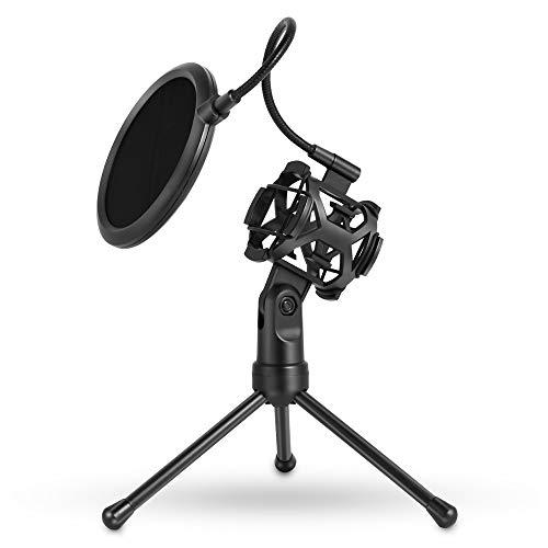 L-MEIQUN,PS - 2 - Mikrofon - Pop - Filter mit verstellbarem Desktop - Ständer(Color:SCHWARZ) (Fußball Für Die Ps2)