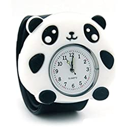 Top Quality New Cute Luminous Kids Boys Girls Silicone 3D Cartoon Animal Bendable Slap Watch Clap on Hand Gift Birthday Xmas - Black Panda