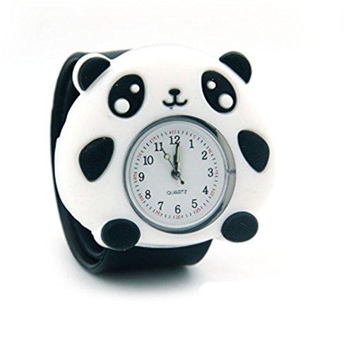 Alta calidad nuevo diseño luminoso niños, niñas, silicona 3d Cartoon Animal Bendable bofetada reloj clap en mano regalo cumpleaños Navidad–oso Panda, color blanco y negro