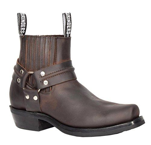 Männer Braun Leder Ankle Biker Stiefel Schlüpfen Sie Ein Quadratische Zehe Cowboy Schleifmaschinen Stiefel - AR70 (45 EU) (Männer Cowboy-stiefel)