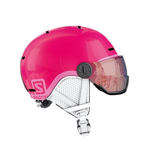 Salomon Kinder Grom Visor Ski- und Snowboardhelm, mit Visier, In-Mold-Schale und EPS-Innenschale, Kopfumfang 53-56 cm, rosa (Glossy/pink), Größe M, L39916200