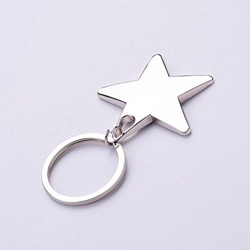 Mjhwsx Stella a cinque punte a forma di ciondolo portachiavi d'argento (Tono Argento Drago)