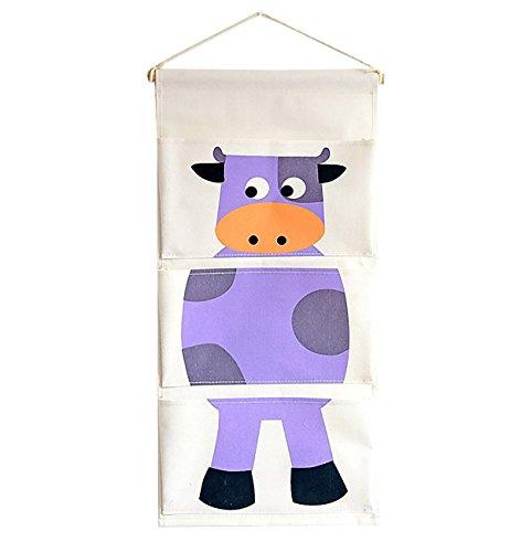 Chicieve portaoggetti da parete porta in lino cartoon animale organizzatore da appendere 3 tasche con gancio sacca portaoggetti per bambini