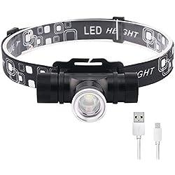 HUANGLP Lampe Frontale, LED Réglage télescopique Lampe avec IPX5 étanche et Recharge USB pour la pêche, Le Camping,Pêche, Chasse,Cyclisme, Activités de Plein Air, Lampe de Poche, Phare