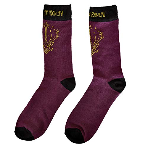 NJ SCREENPRINTS Calcetines para Hombres Harry Potter Expecto Patronum 41-45 Purple Black