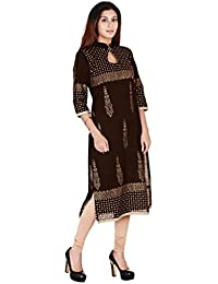 Zoeyams Women's Brown Cotton Block Prints Long Straight Kurti