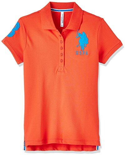 US Polo Association Women's Studded T-Shirt (UWTS0739_Hot Coral_S HS)