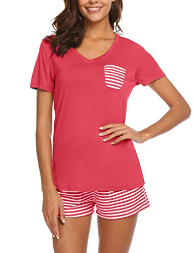 Unibelle Damen Pyjama Schlafanzug Kurz Sommer Nachtwäsche Hausanzug Kurzarm Rund Ausschnitt S-XXL - Spandex T-shirt Jersey
