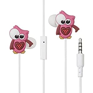 Auricolari gufo rosa universali con microfono LolaChat Rosina (compatibili con iPhone, iPod, Samsung, Android, Tablet, MP3, ecc) – Regalo da ragazza