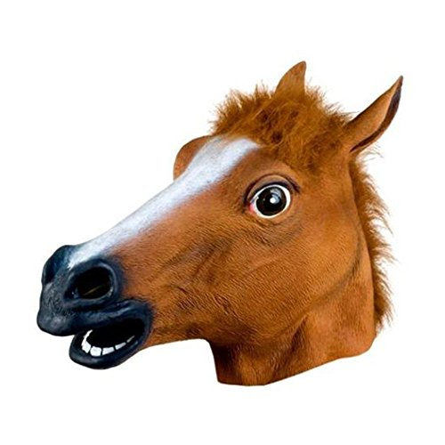 Kicode Cosplay Pferdekopf Latex Maske Tier Zoo Lustig Halloween Party Kostüm Prop Spielzeug Roman