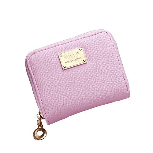 Tinksky Klein Portemonnaie mit Reißverschluss Damen Kleine Geldbeutel PU Leder Brieftasche für Frauen Mädchen (Rosa) (Damen Kleine Rosa Portemonnaie)