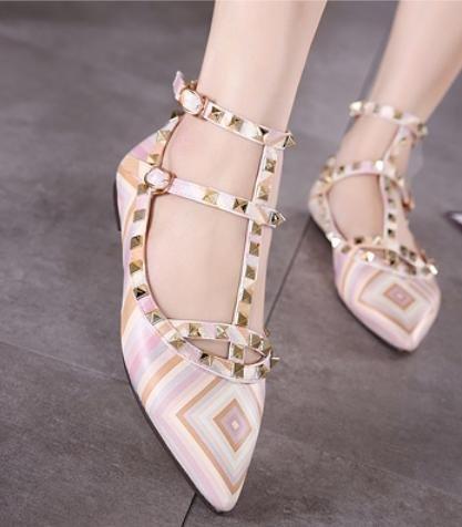 GS~LY Frauen Streifen Farbe Schnalle Nieten Spitze Schuhe Orange
