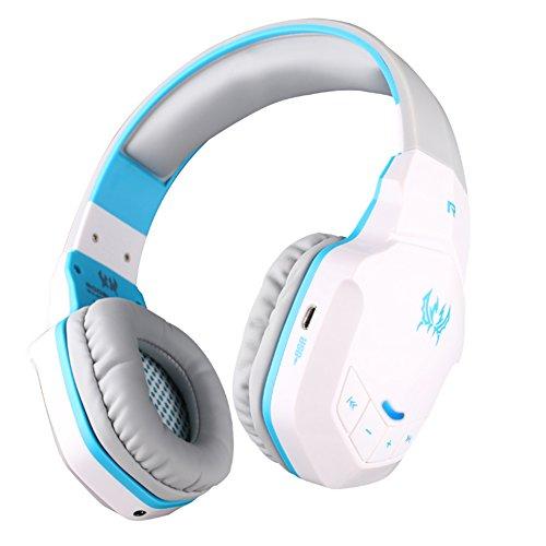 Gaming Headset Bluetooth Wireless Kopfhörer PC Kabellos 50mm Hifi Audio Microphone Eingebaut lärmschutz für Computer Laptop usw (Weiß &blau) Wireless Pc Headset Mic