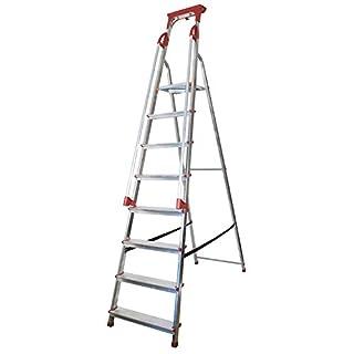 Abbey Aluminium Safety Platform Step Ladder With Handrail & Tool Tray 8 Tread