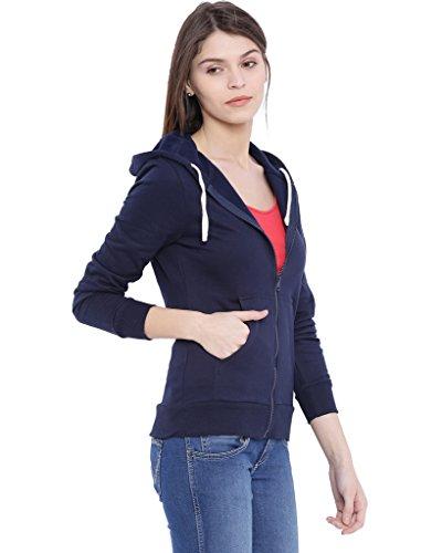 Campus Sutra Women Blue Zipper Hoodie(AW16_ZH_W_PLN_BU_L)