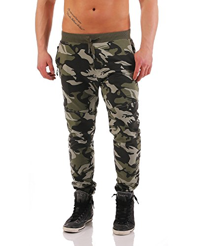 Herren Jogginghose Trainingshose Sporthose Fitness im Camouflage Design Sweat Freizeithose Jogger Sportswear B-053 L Green