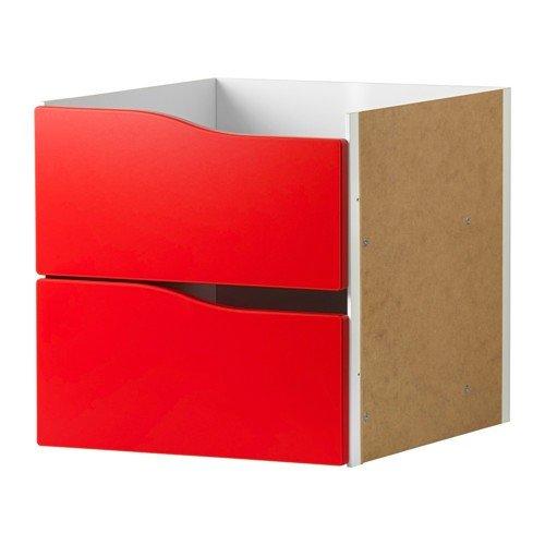 IKEA KALLAX Einsatz mit 2 Schubladen ohne Griff in rot; (33x33cm); passt zu EXPEDIT (Ikea 2 Schubladen)