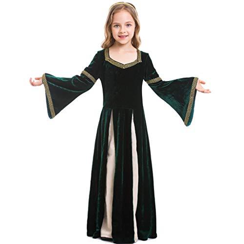 Mädchen Einfach Kostüm - CJJC Vintage Mädchen Kostüm, Einfache Gold Kragen Große Hornförmige Ärmel Lange Kleider Ideal Für Festival Party Schule Leistungsgebrauch L