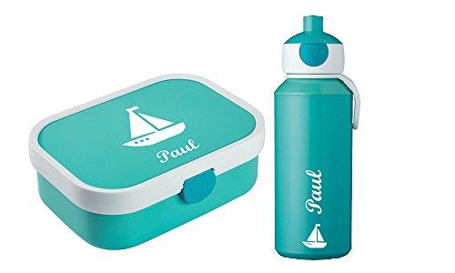 rotdose und Trinkflasche mit Wunschmotiv und Namen personalisierbar, Sparpreis,, Bento-Box und Fruchtgabel (türkis) ()