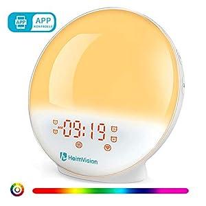 【APP Kontrolle】Lichtwecker mit Alexa & Google Home, Wecker Licht, Sonnenaufgang Sonnenuntergang Simulation Wecker, Intelligentes Wake Up Licht mit 4 Alarmen, Schlummerfunktion, Lichtwecker für Kinder