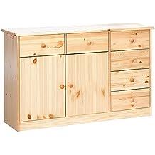 Steens Mario 2 para puerta/6-cajones mueble aparador con madera de pino, acabado barnizado Natural
