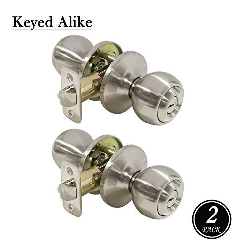 knobonly 5763 gebürstet Nickel Finish Türknauf Edelstahl runde Tür Lock 2 Pack Keyed Alike Entry Door Lock with Keys -