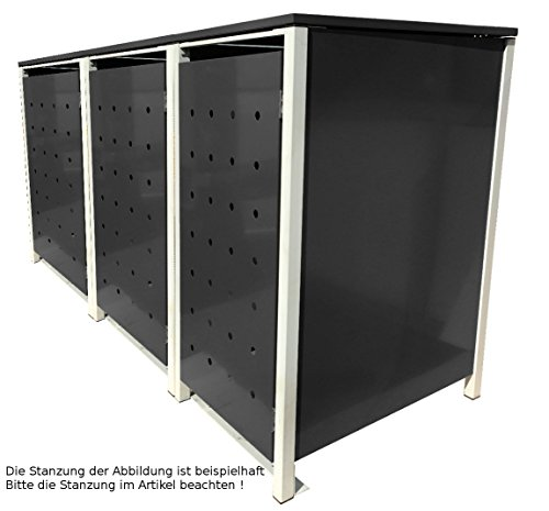 BBT@ | Hochwertige Mülltonnenbox für 3 Tonnen je 240 Liter mit Klappdeckel in Schwarz / Aus stabilem pulver-beschichtetem Metall / Ohne Stanzung / In verschiedenen Farben sowie mit unterschiedlichen Blech-Stanzungen erhältlich / Mülltonnenverkleidung Müllboxen Müllcontainer