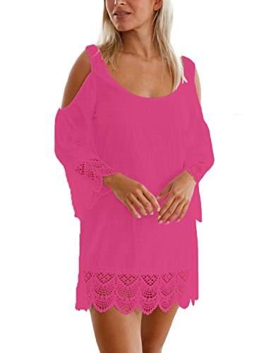 Aleumdr Damen Strandkleid Lacy Crochet Trim Crinkle Kalt Schulter Beachwear Bikini Cover up Minikleid Strandponcho Rosarot Medium (Cover-up Bademode)