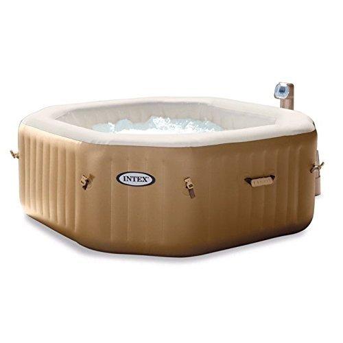 Intex Octagonal Pure Spa - 4 Person Bubble Therapy Hot Tub, Beige