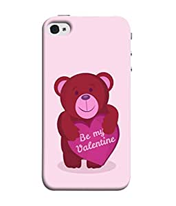 Apple iPhone 4S Back Cover Red Teddy Bear With Pink Heart Design From FUSON