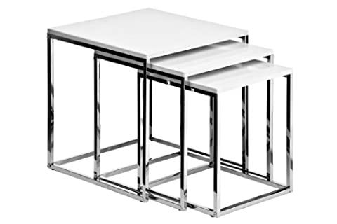 Premier Housewares Nested Tables with Chrome Frame, 42 x 40 x 40 cm - Set of 3, White High Gloss