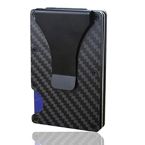 KOBWA Carbon Fiber mini uomo in pelle, slim portafoglio porta carte di credito RFID Blocking anti Scan Cash clip in metallo