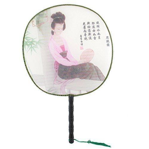 Woman nappe, 2 pezzi, motivo: dettaglio di ventaglio, manico di bambù, rotonda, colore: nero/rosa