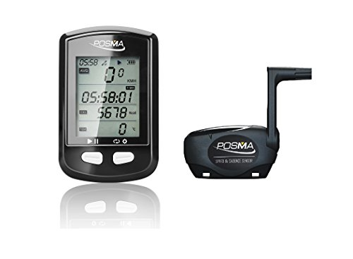 POSMA DB2 Bluetooth GPS Cycling Bike Computer Speedometer Odometer Altimeter Calories Heart Rate cadence Temperature Route tracking ANT+, Support STRAVA, BLE4.0 Smartphone, iPhone Android APP Bundle with BCB20 ANT+ BLE4.0 dual mode Speed and Cadence sensor