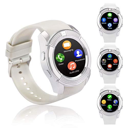 Smartwatch, Reloj Inteligente con Ranura para Tarjeta SIM Cámara Pulsera Actividad, Reloj Iinteligente Mujer Hombre niña niños para Xiaomi Redmi Huawei Samsung Hornor Teléfono Android iOS (Blanco)