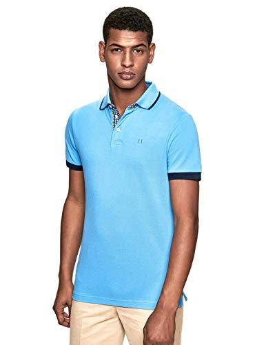 Hackett London Herren Poloshirt GEO SWIM TRIM Blau (AQUA 508) Medium (Herstellergröße:M) - Trim Fit Shirt