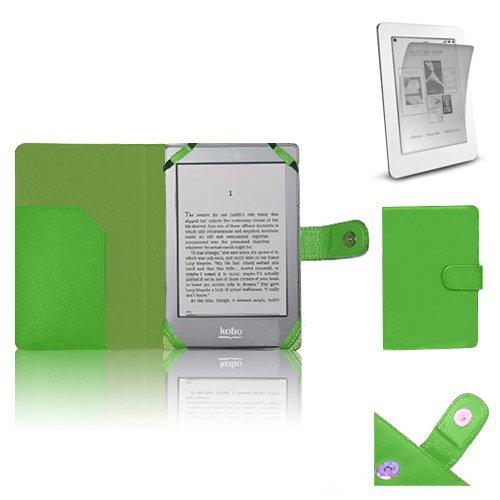 Xtra-Funky Hülle Kompatibel mit Kobo eReader GLO, PU-Leder-Geldbörse Buch-Art-Fall Inklusive LCD-Display Schutzfolie - Grün