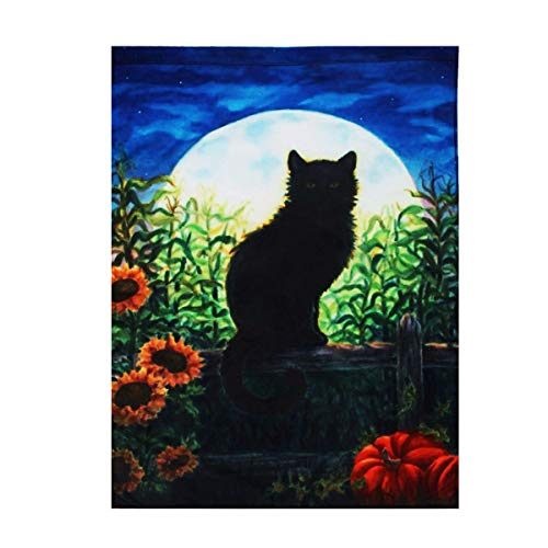 EgBert 28' X40 ' ' Harvest Moon Cat Autumn House Flag Fall Halloween Black Kitten Garden Banner Decorations